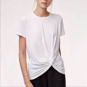 (525) Aritzia Babaton White Seddon Knot T-Shirt